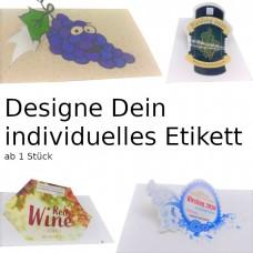 Selbstgestaltete Etiketten mit deinem Motiv ab 1 Stück, verschiedene Materialien wie z.B. glänzendes Papier, Graspapier, Polyester uvm., individuell und hochwertig